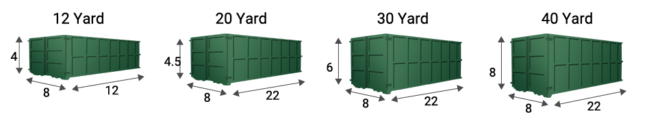selection of various dumpster rental sizes available
